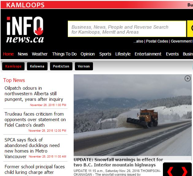 Screenshot of Kamloops Infotel Homepage