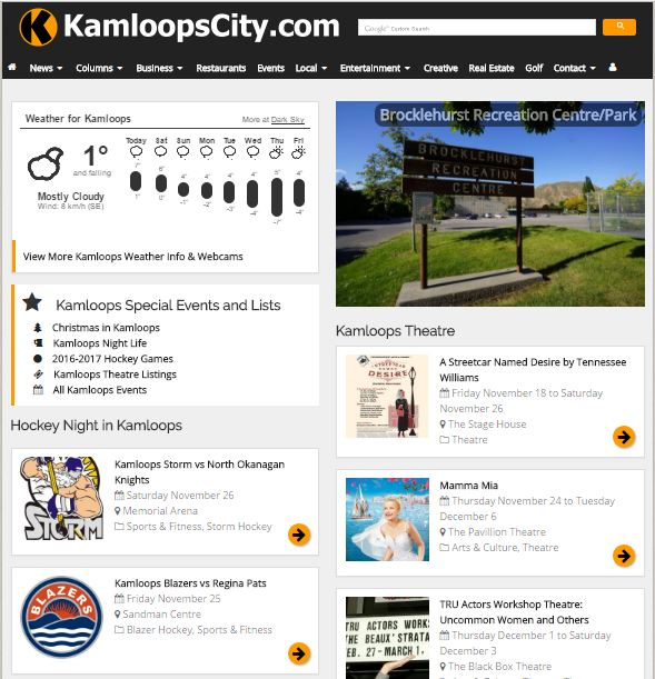 Screenshot of the KamloopsCity.com Homepage. 1 of the 5 best Kamloops websites.